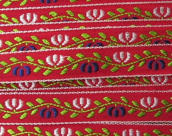 3 Yards Floral Jacquard Trim 1/2 Inch Wide Red White Blue and Green  VT 167