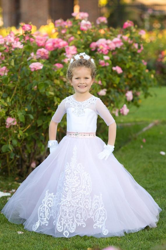 Rosa Blume Mädchen Kleid Spitze Blumenmädchen Applikation