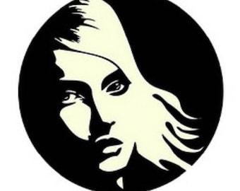 pretty cabochon 23 mm, woman (black and white)
