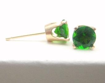 Chrome Diopside 14K Gold Stud Earrings - Gold Earrings - 3 mm 4 mm 5 mm - Post Earrings - Diopside Earrings - Green Earrings