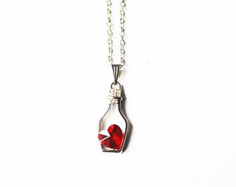 Red Heart Bottle Necklace - 1 PC