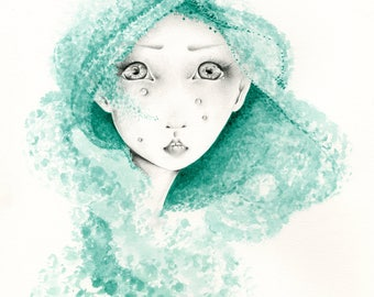 Ready to Ship  Sad Girl Art Print Fine Art Giclee Print of my Original Green Watercolor Painting Blue Green Watercolor Art Print