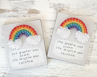 MADE TO ORDER Rainbow string art, Mixed Media, String Art, wood Sign, inspirational, quote, mini, mixed media, handmade, stamped
