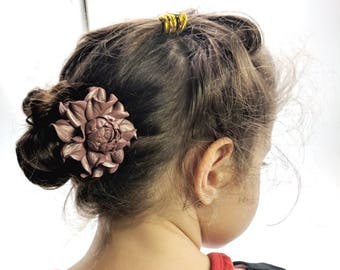 """Metal floral hair stick 4"""" w/ flower genuine leather pearly old rose 2"""" thin metal hair fork