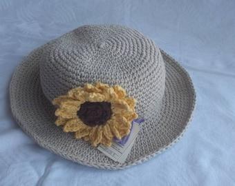 Crochet Sun Hat w/Sunflower, 20 colors, Custom made, chemo sun hat, brimmed hat, summer hat, crochet hat, women's sun hat, cotton chemo hat