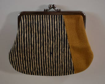 Clutch purse, small, Japanese hand woven cotton clutch bag,  Japanese coin purse