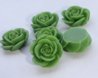10 OPEN ROSE Cabochons - 20mm - Grass Green Color