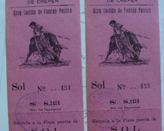 2 Antique Pink Beautiful Ephemera Bullring Signature  Numbered Ticket Vouchers