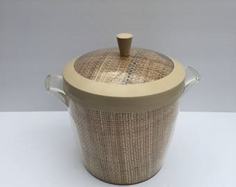 Plastic Ice Bucket with Rattan And Taupe Plastic Thermo Temp Tiki Time  Barware