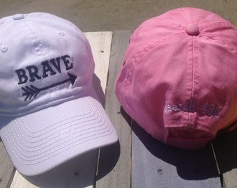 Brave Baseball Cap - Isaiah 43:1 - Fight Like a Girl - Gifts for her - Overcome - Cancer Fighter - Graduation - Chemo Gift- Breast Cancer