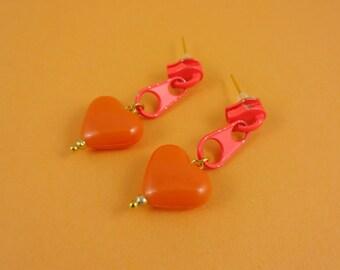 Orange Zip Earrings, Orange Heart Earrings - neon orange zips, zipper earrings, repurposed upcycled, Harajuku Decora, cute kitsch kawaii