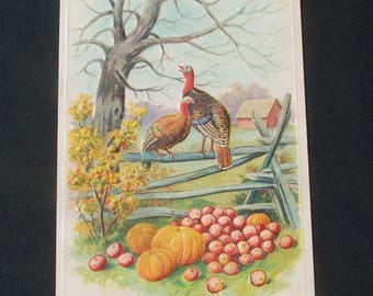 Antique Embossed Thanksgiving Day Greetings Postcard.