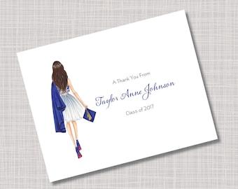 Custom Blue Grad Fashion Girl Graduation Thank You Note Cards