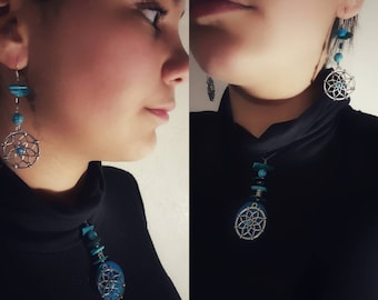 Your turquoise dreamcatcher earrings and matching necklace