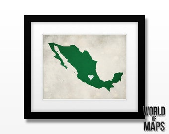 Mexico Map Print - Home Town Love - Personalized Art Print Available in Different Sizes & Colors
