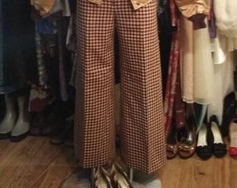 Boho Pant || Emanuel Ungaro, Wide Leg Pants, Checkered Pants, Wide Leg Trousers, Boho, 60s, Wool Pant, Brown and Beige Pants, Vintage Pants