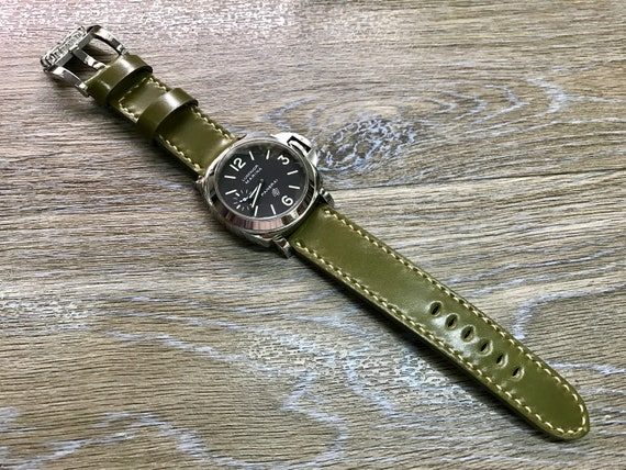 24mm watch band, leather watch Band, Shell Cordovan leather, Leather Watch Strap, 24mm watch strap, 26mm strap, Army green, FREE SHIPPING