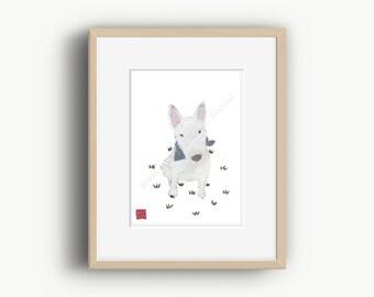 Bull Terrier Art, Bull Terrier Gift, White Bull Terrier Dog