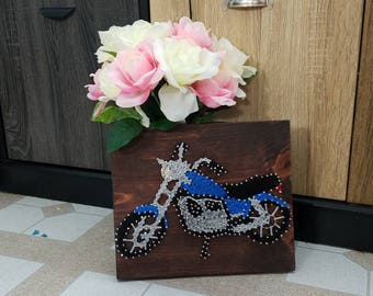 Motorcycle string art sign - bike custom made - handmade - wall art hanging - decoration