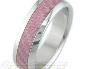 Titanium with Pink Carbon Fiber inlay