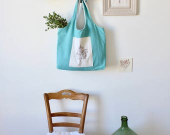 Large tote bag TOTE BAG blue/green cotton - tote - bag shopping green/blue - large - size xxl - eco-chic - Green