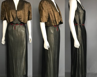 1930s evening gown with lamé jacket