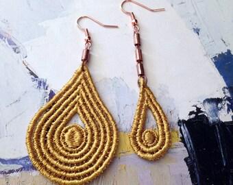 asymmetrical earrings  | FAIRUZA | mustard lace earrings, modern earrings, modern boho jewelry, mismatched earrings, statement earrings,