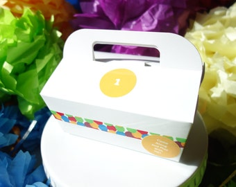 "Dozen GABLE CAKE BOX (12) Paper Food Grade Catering, To Go, Favor, w/ Handle Decorated ""Come Along and Play With Me"" ""1"", Rainbow  Birthday"