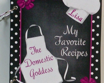 Domestic Goddess Blank Wooden Recipe Book Personalize With Your Name