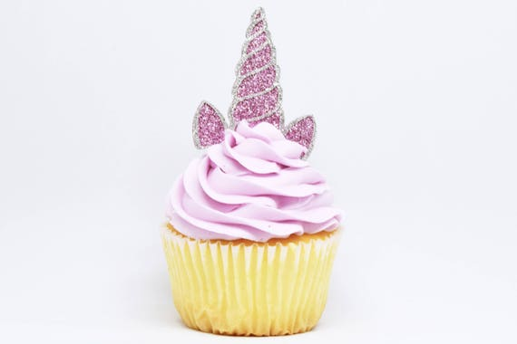 Unicorn Horn + Ears Cupcake Toppers - Lavender + Silver Glitter - First Birthday Decor. Unicorn Party Decor. Birthday. Birthday Party Decor.