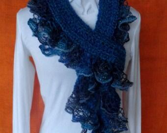 Crochet Scarf Pattern, Crochet Scarf with Ruffle Yarn Edging, Patterns for Sashay Yarn, Easy to Follow Pattern for Crocheted Ruffle Scarf