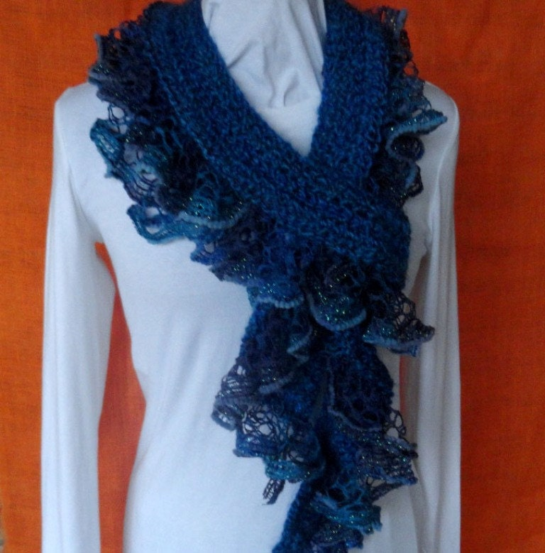Crochet Scarf Pattern, Crochet Scarf with Ruffle Yarn Edging ...