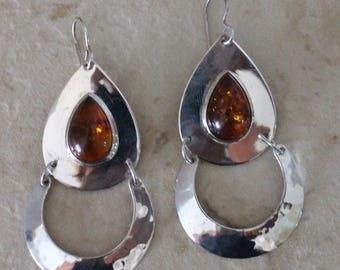 Huge Sterling Silver Amber Stone Modernist Dangle Pierced Earrings