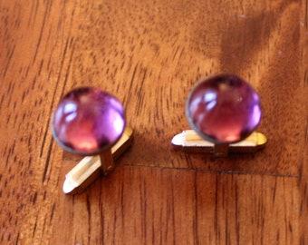 Purple Glass Cuff Links, vintage Purple Gemstone Cuffs