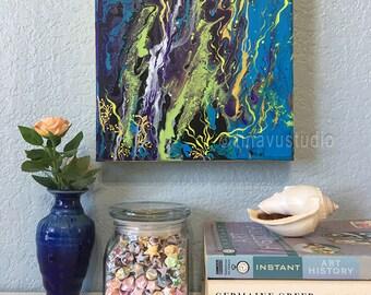 abstract acrylic painting, ORIGINAL acrylic painting, square canvas, wrapped canvas painting, acrylic on canvas painting, blue painting