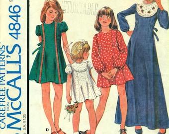 McCall's 4846 Girl's Size 6 Dress Seam Interest Yoke Contrast VINTAGE 1970s  ©1975