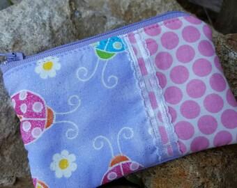Ladybug Coin Purse, Girls Zipper Wallet, credit card pouch, girls coin pouch, kids zipper bag, lunch money pouch, change purse