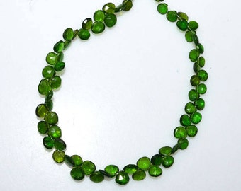 "1 Strand Chrome Diopside Faceted Heart Shape Briolette - Chrome Diopside Heart Briolette , 5.50x5.50 - 6x6 mm , 8.5"" - BL3408"