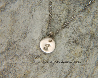 Tiny White Gold Necklace 14K Gold Initial Necklace White Gold Disc Necklace White Gold Jewelry