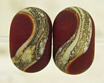 Handmade Glass Lampwork Bead Pair with Webbed Silvered Ivory and a Frost Matte Finish Small 11x7mm Red Velvet