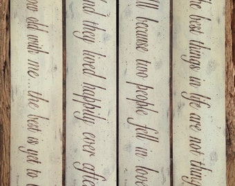 LOVE. Wedding, Engagement, Shower word art quotation prints. Choice of 4 distressed designs, neutral creamy white & brown by Donna Atkins