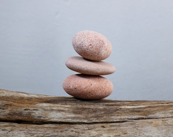 Beach Stone Cairn - Zen Balance - Stress Relief - Small Relaxation Gift - Baltic Sea Pebbles - Pink