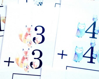 Reusable Addition Practice Cards for First Grade, Printable, Instant Download, Reusable Homeschool Resources