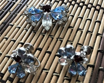 Vintage Blue Rhinestone Butterfly (Bug) Brooch Pin and Earrings Set