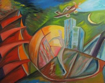Oil Painting On Canvas City Urban Skyscraper Airplane Futurism Landscape