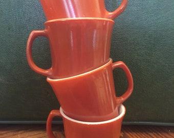 4 Vintage Rust Corning/Pyrex Coffee Mugs