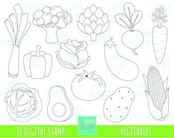 50% SALE VEGTABLES stamp, commercial use, digi stamp, veggies digi stamp, digital image, coloring page, printable graphics, cute vegetables