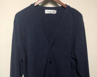 Vintage blue cardigan golf sweater, retro cardigan, Mr Rogers cardigan, solid minimalist, 80s 1980s vtg, nerd grandpa, Palmland men's large