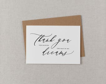 Thank You For Raising The Man Of My Dreams, Thank You Card For Wedding Mother-In-Law, Mother Of The Groom Wedding Thank You Cards, K6