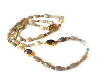 Labrodorite long bead Necklace, long grey necklace, grey stone necklace, long beaded necklace, labrodorite necklace, gemstone long necklace